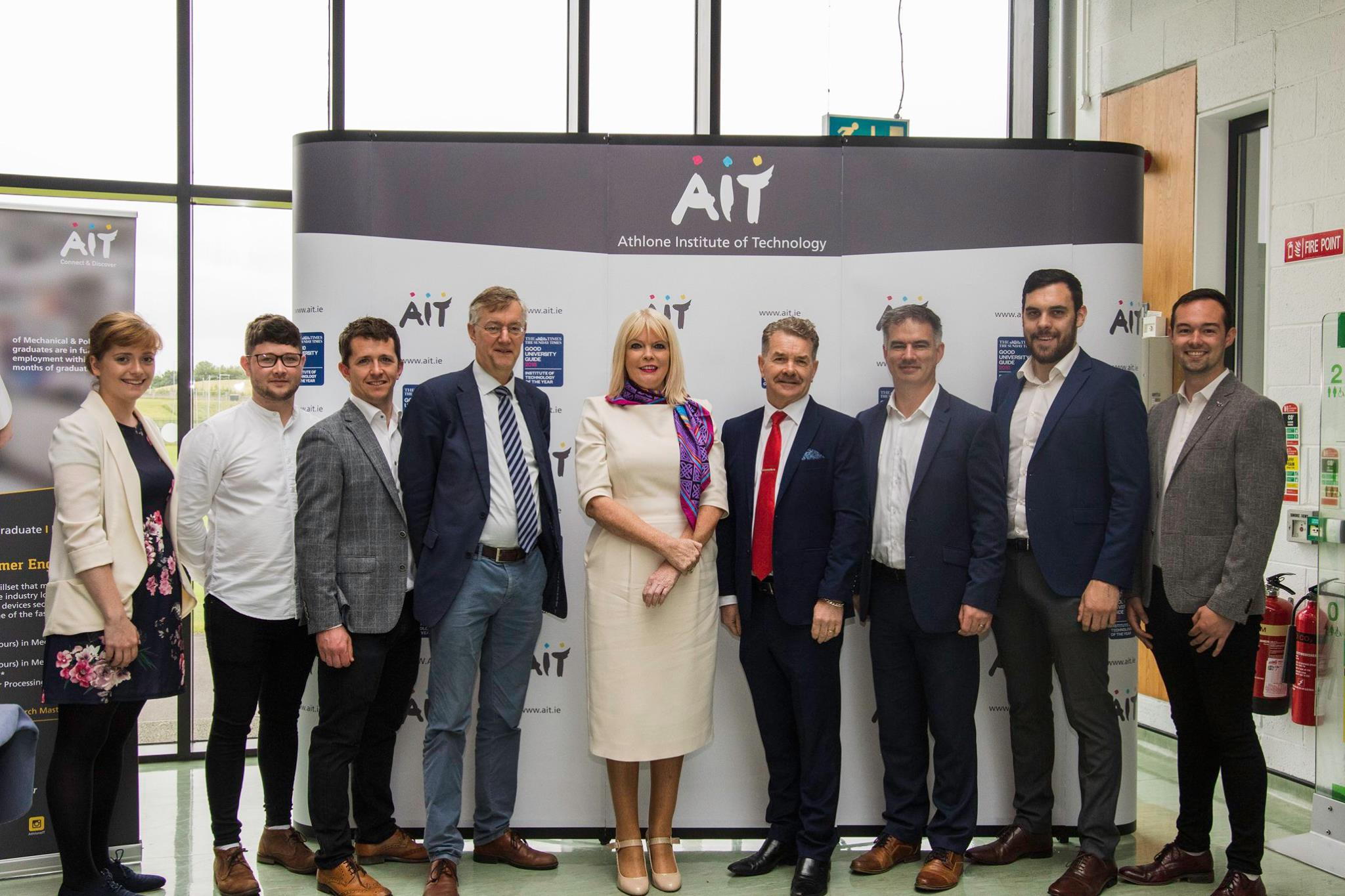 Pictured: Clodagh Reid PhD Student at AIT, Tomás Hyland PhD University of Limerick, Dr Ronan Dunbar Engineering Lecturer, Prof. Marc J. de Vries Founder of PATT, Minister of State for Higher EducationMary Mitchell O'Connor, Prof. Ciarán Ó Catháin President of AIT, Dr. Niall Seery Vice-President Academic & Registrar, Joe Phelan PhD Student UL, Jeffery Buckley PhD Student at KTH Royal Institute of Technology in Stockholm.