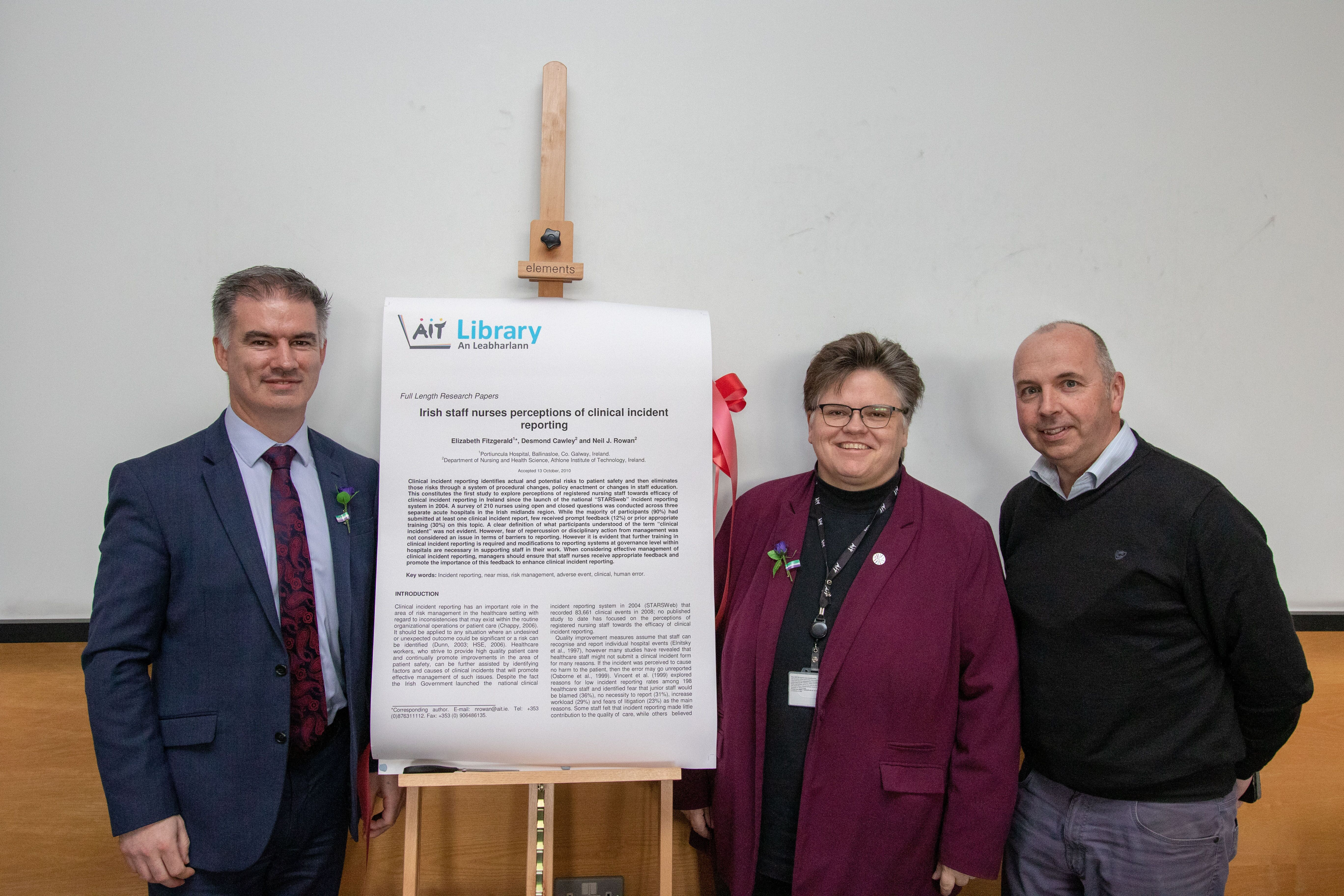 Dr Niall Seery, VP for Academic Affairs and Regisytry, pictured with Jane Burns, Institute Librarian, and Professor Neil Rowan, Director of the Bioscience Research Institute at Athlone Institute of Technology.
