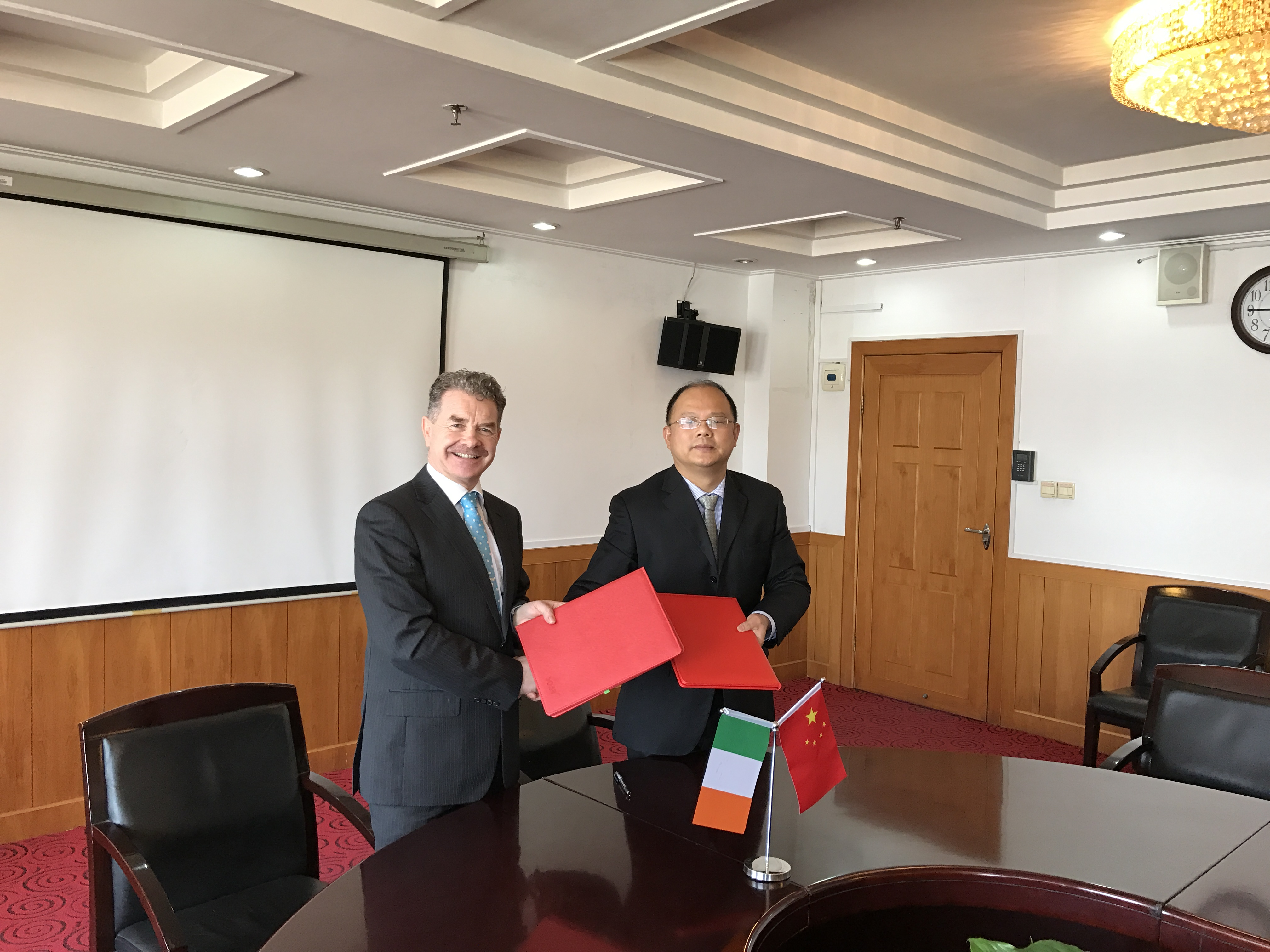 Professor Ó Catháin is pictured below alongside President Ni of Wuhan University.