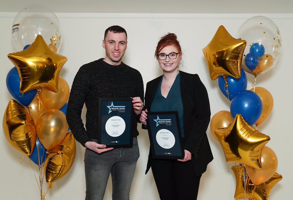 Athlone Institute of Technology Business Psychology students, Lisa O'Brien and Rory Donlon, have been shortlisted for the 2019 Smarter Travel Campus Awards in the categories of 'Multimedia Animation' and 'Multimedia Video'.